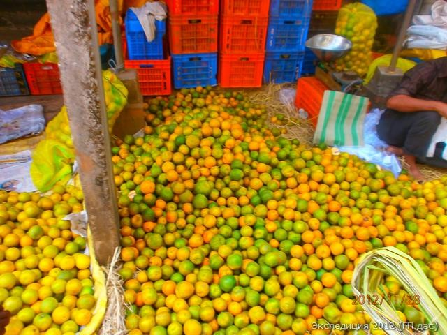 запасы поспевших мандаринов на рынке